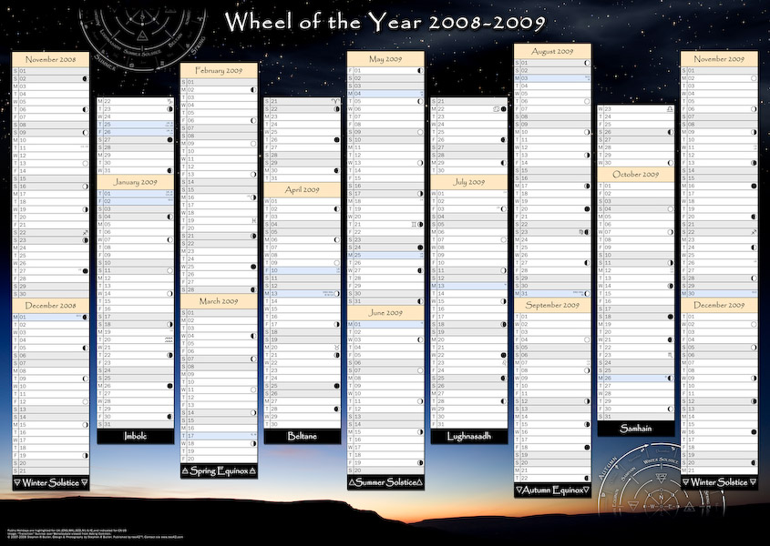 Wheel Of The Year Wall Planner 2008 2009 From Two42
